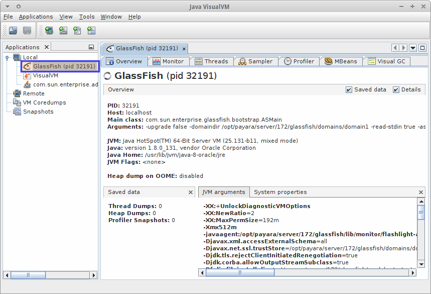Payara Server in VisualVM
