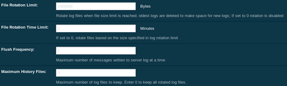 Log rotation settings