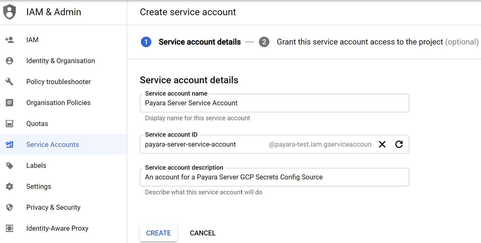 GCP new Service Account