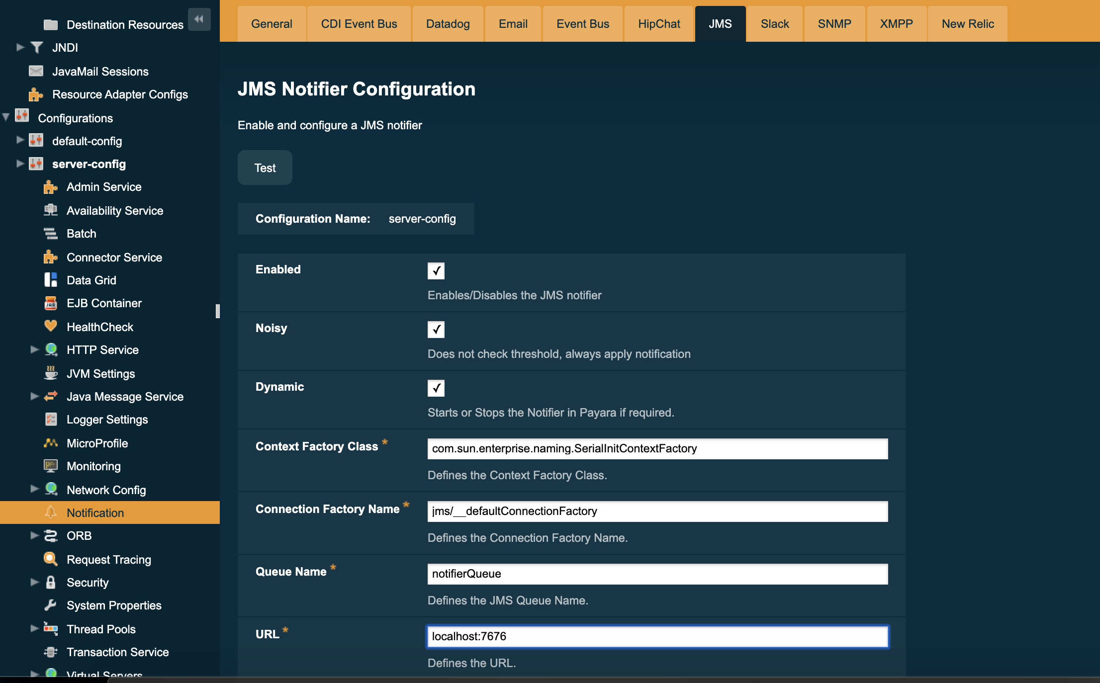 Configure JMS Notifier in Admin Console