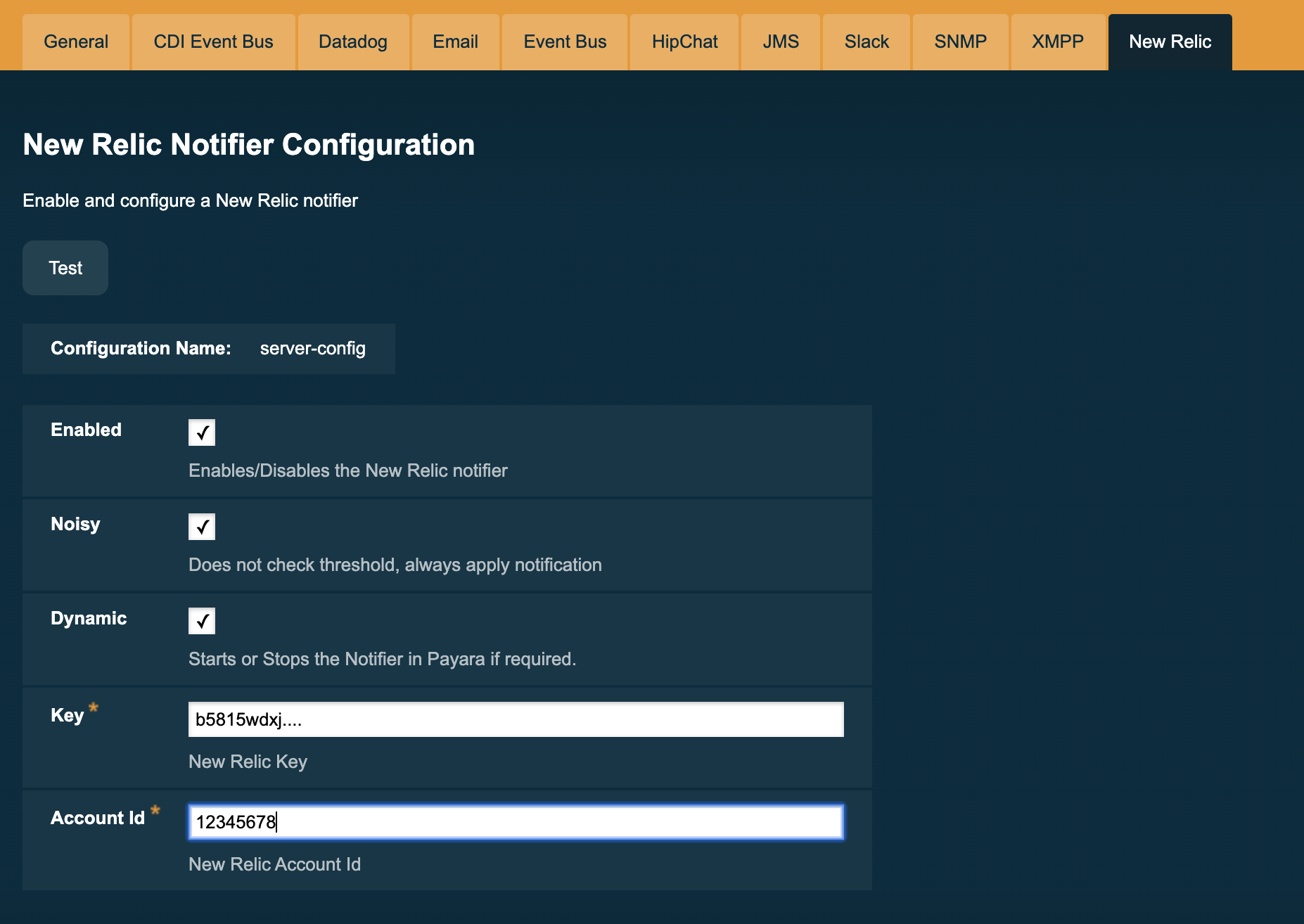 New Relic Configuration on Admin Console
