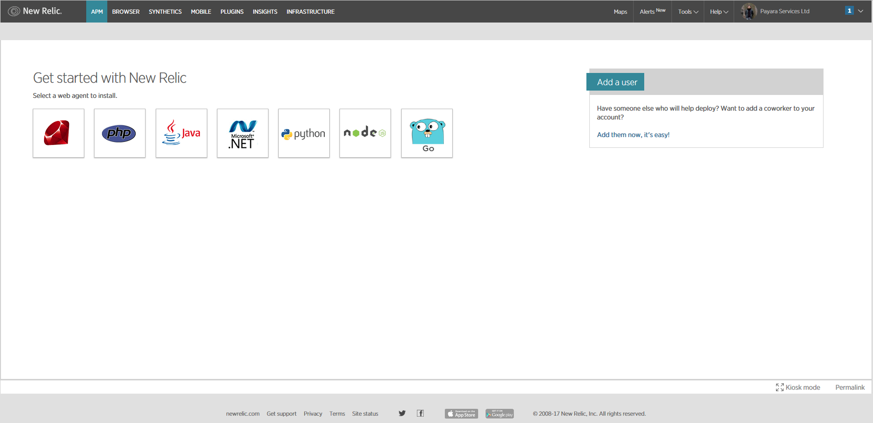 New Relic agent setup welcome screen