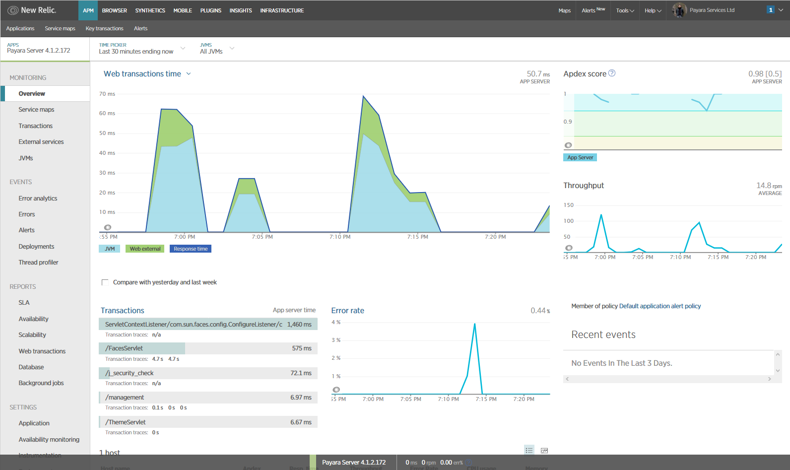 New Relic Application Details