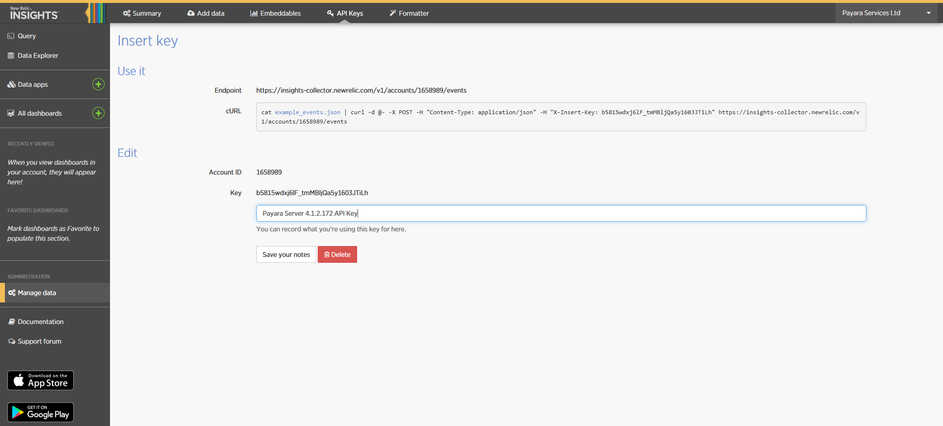 New Relic Insights Insert API Keys