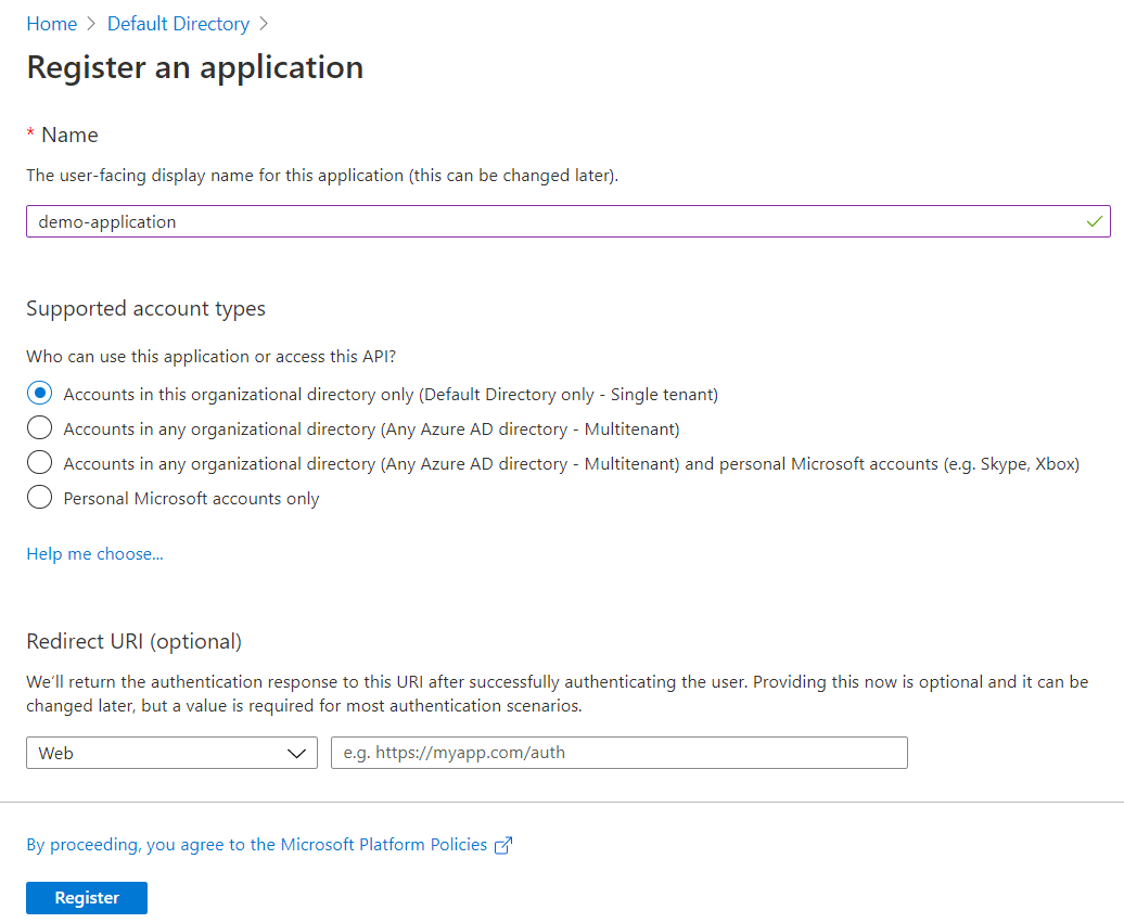Application Registration Configuration