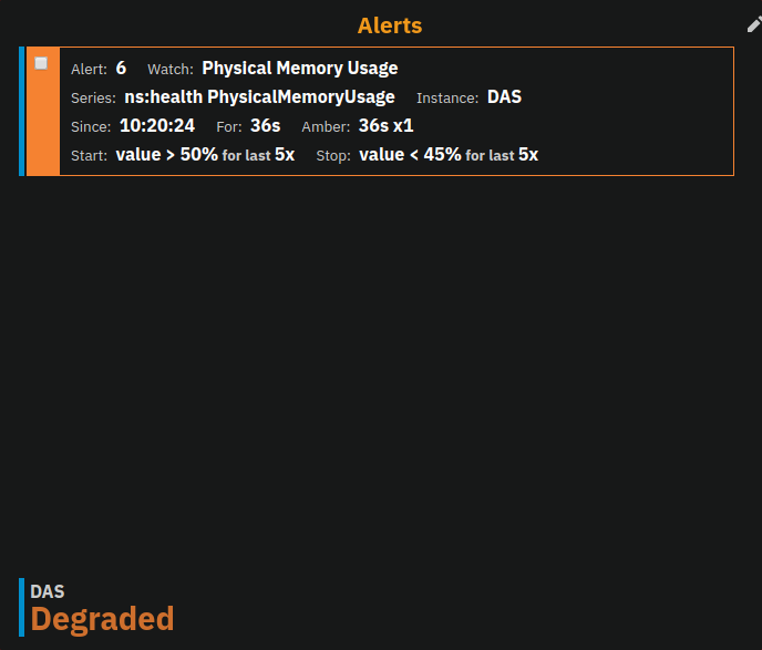 Example of alert table showing a subset of alerts