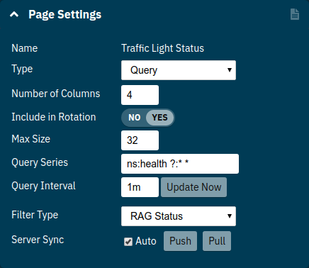 Query Page Settings