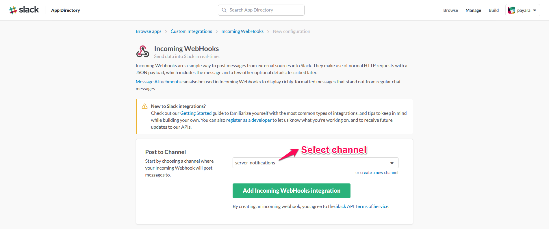 Incoming WebHook Channel Selection