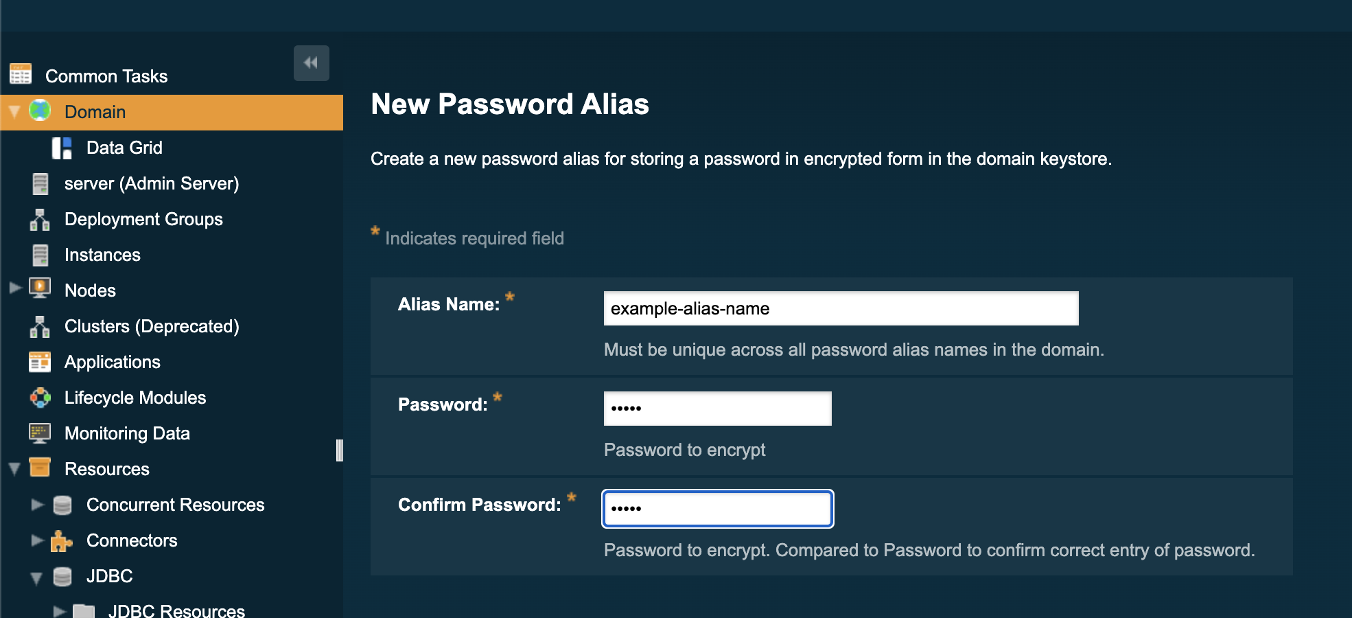 Password alias creation