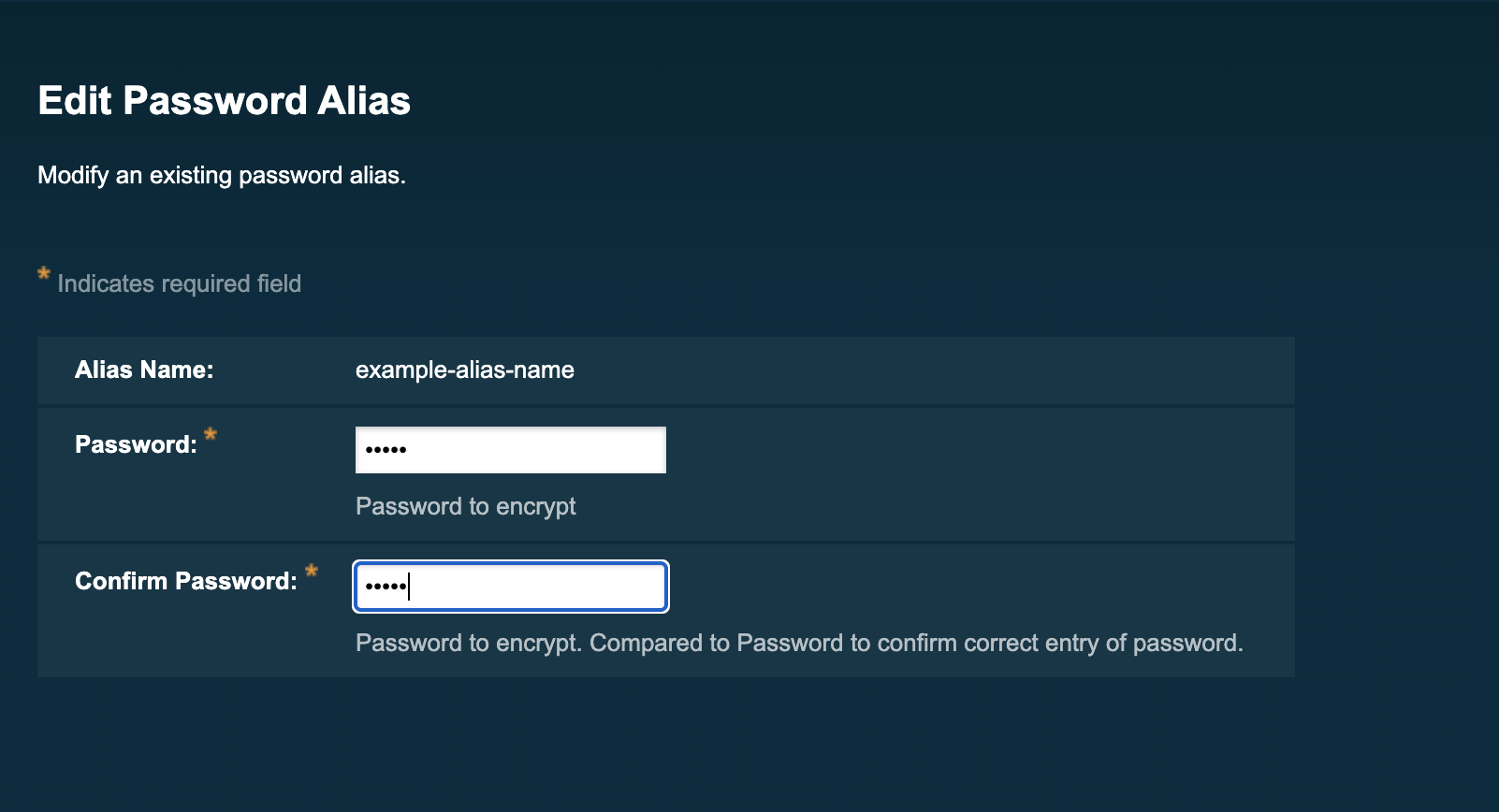 Modifying password alias